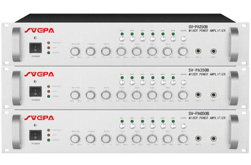 采用先进高效功率放大电路,设有2路话筒输入,3路线路输入, 2.